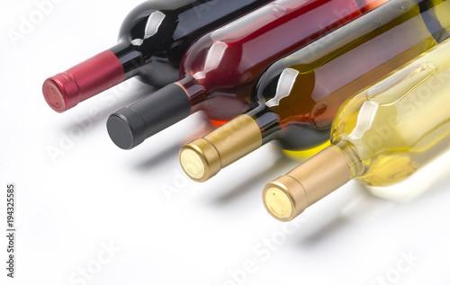 Fototapeta wine bottles isolated on white
