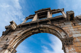 Hadrian's Gate in the center of Athens Greece. The Arch of Hadrian spanned an ancient road from the center of Athens to the complex of structures of the city that included the Temple of Olympian Zeus - 194333535