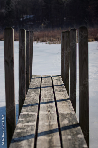 Aluminium Pier Dock along the frozen lake