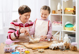 Mother and daughter cooking and having fun, home kitchen interior, healthy food concept - 194336796
