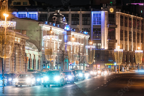 Tuinposter Moskou Moscow, Russia - February, 25, 2018: traffic in a center of Moscow, Russia