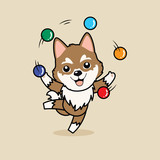 Cute cartoon character design Siberian Husky dog ,playing with balls like a juggler