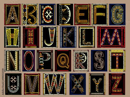 Highly Ornate Gold Illuminated Medieval Vector Font Alphabet Kit