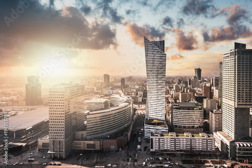 Fototapeta Urban view of the Warsaw skyline. Panoramic cityscape of the city in central Poland.