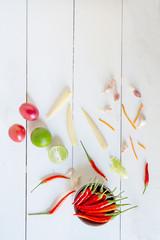 organic food background, Vegetable on wood background