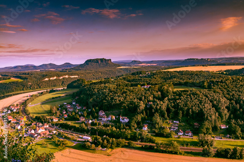 Deurstickers Oranje eclat Lilienstein Mountain Viewed from Bastei, Saxon switzerland, Germany