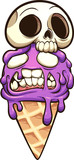 Zombie ice cream with skull. Vector clip art illustration with simple gradients. All in a single layer.
