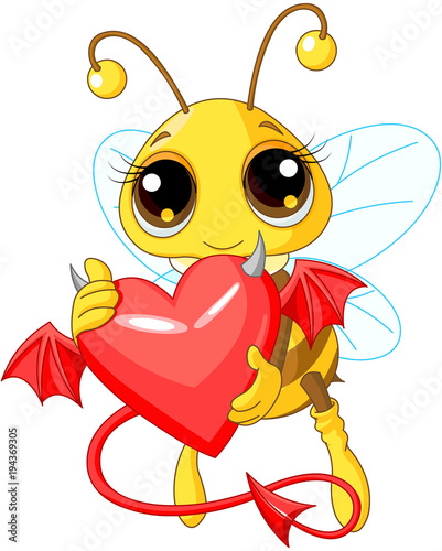 Staande foto Sprookjeswereld Cute Bee Holding Devil Heart