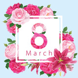 Happy Women's Day on 8 March with floral frame pink roses flower and lily background template. Vector set of blooming floral for holiday greetings, newsletter, brochures, postcards and banners design.