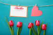 Valentine's day theme with tulips and greeting card - 194370549