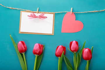 Valentine's day theme with tulips and greeting card