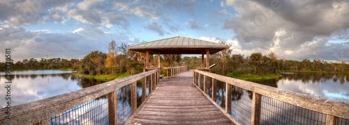 Aluminium Napels Gazebo on a wooden secluded, tranquil boardwalk
