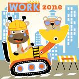 cartoon of nice giraffe and little bear on construction equipment