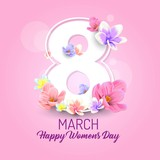 happy womens day vector illustration, international celebration womens day 8 march