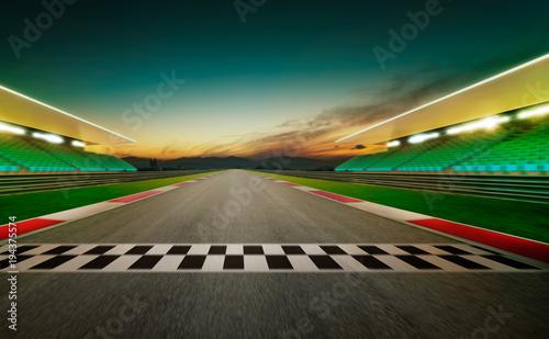 Fotobehang Formule 1 Motion blurred racetrack with start or end line . Night scene .