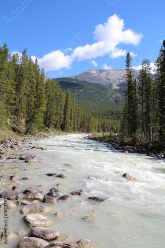 Fotobehang Bergrivier Sunwapta River, Jasper National Park, Alberta