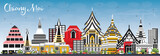 Chiang Mai Thailand City Skyline with Color Buildings and Blue Sky. - 194381786