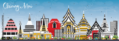 Wall mural Chiang Mai Thailand City Skyline with Color Buildings and Blue Sky.
