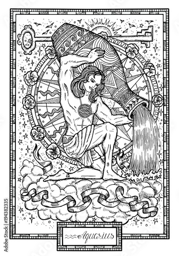 391bfc52b Zodiac sign Aquarius with viola flowers and lucky numbers. Hand drawn  fantasy graphic vector illustration