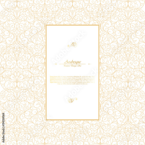 Arabesque eastern element vintage white and gold background template vector