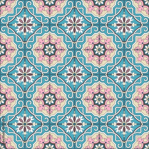 Fashionable pattern in the Arab style, seamless background, arabesque vector. - 194387582