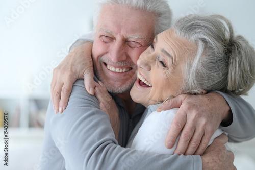 Leinwandbild Motiv happy senior couple at home