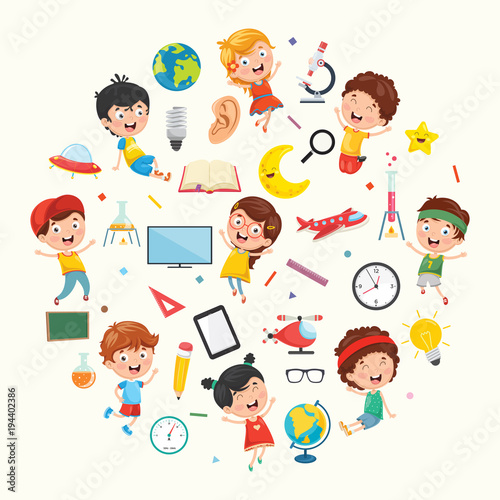 Vector Illustration Collection of Kids and Science Equipments