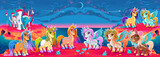 Groups Of Unicorns And Pegasus In A Fantasy Landscape Wall Sticker