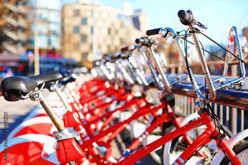 Foto op Canvas Barcelona Bikes in a row. Bicycle rental in Barcelona, Spain.