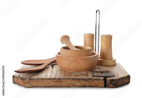 Foto op Plexiglas Kruiden 2 Wooden kitchen utensils on white background