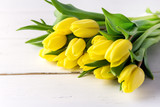 Beautiful Yellow Tulips on White Wooden Background Cop Space Beautiful Spring Flowers
