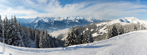 Panoramic Winter View of Austrian Alps Seen From The Ski Slopes of Zell Am See