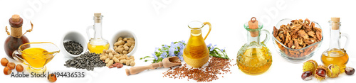 Keuken foto achterwand Verse groenten Set of vegetable oils, nuts and seeds isolated on white background. Panoramic collage. Wide photo.