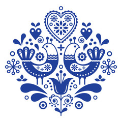 Scandinavian folk art pattern with birds and flowers, Nordic floral design, retro background in navy blue