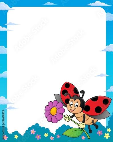 Foto op Canvas Voor kinderen Ladybug theme frame 1