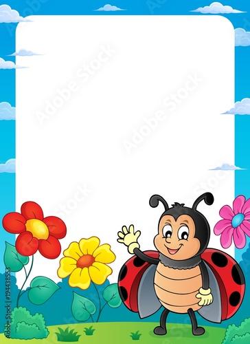 Foto op Canvas Voor kinderen Ladybug theme frame 2