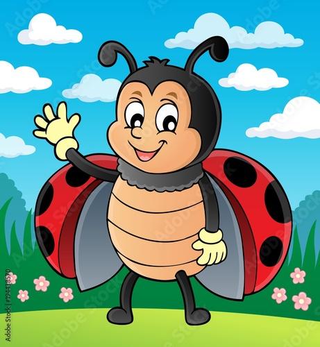 Foto op Canvas Voor kinderen Waving ladybug theme image 2