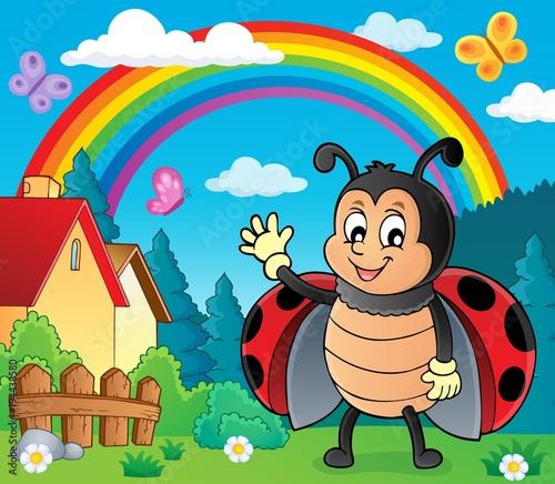 Foto op Canvas Voor kinderen Waving ladybug theme image 3