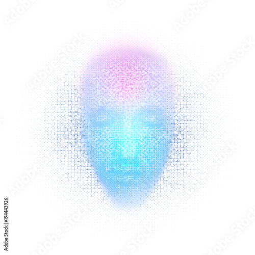 Fototapeta 3d rendering of robot face with numbers on white background represent artificial intelligence. Future science, modern technology concept. 3d illustration