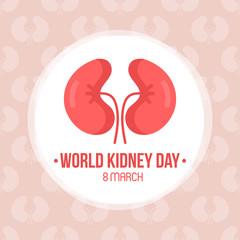 World kidney day card, vector illustration with cute cartoon couple of kidneys.