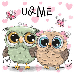 Two Owls on a hearts background