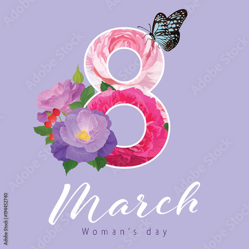 Happy Women's Day on 8 March with floral pink roses flower background template. Vector set of blooming floral for holiday greetings, newsletter, brochures, postcards and banners design.