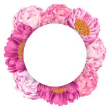 Illustration with Pink Peonies and Round Place for Text - 194454101
