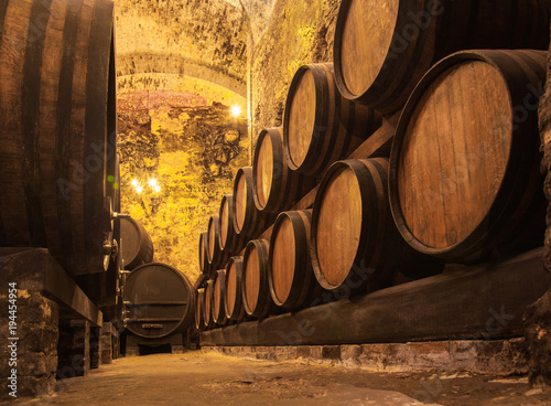 Oak barrels with the wine at the cellar © Igor Dmitriev