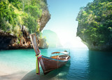 boat on the beach , Krabi province, Thailand - 194456559