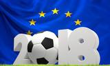 Europe flag 2018 soccer football ball green lawn - 194458180