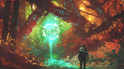 man looking at glowing futuristic light in enchanted red forest, digital art style, illustration painting © grandfailure