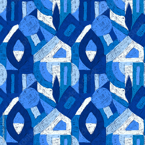 Plexiglas Pop Art Geometric pop art retro pattern doodle blue