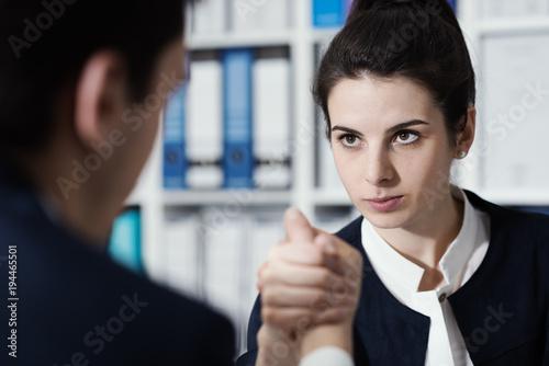Staande foto Wanddecoratie met eigen foto Business people doing arm wrestling
