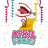 april fools day - teeth in box hang streamers and confetti decoration vector illustration - 194469571